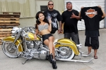Momento shot with Supremacy M.C. and Lauren Lala after a photoshoot featuring Wesley Agcaoili's 2003 Harley Davidson Fat Boy
